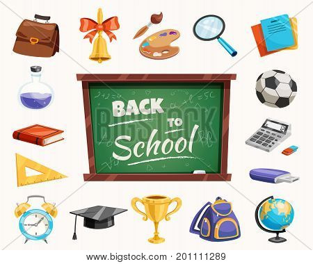 Back to school supplies icons composition poster with chalkboard calculator bell ruler terrestrial globe backpack vector illustration