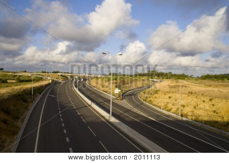 Highway On Cloudy Day