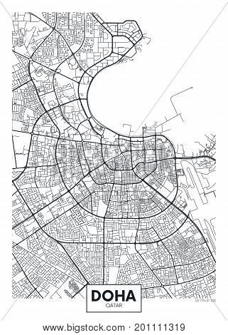Detailed vector illustration poster city map Doha