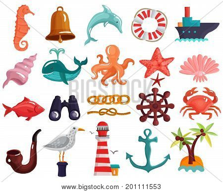 Collection of sea life and nautical elements with lighthouse, island, lifebuoy, vessel, binoculars, helm isolated vector illustration