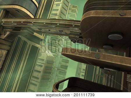 3D rendering of a science fiction futuristic city in a green fog