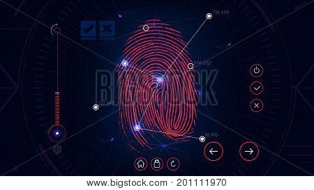 Fingerprint scanning identification system, futuristic sci-fi red interface, biometric authorization technology