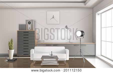 Realistic lounge interior 3d design with white sofa, drawers with loudspeaker, floodlight, clock on wall vector illustration