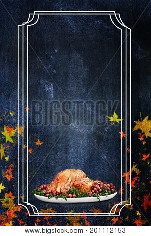 Photo of a holiday Thanksgiving Day turkey flyer background with room for text.