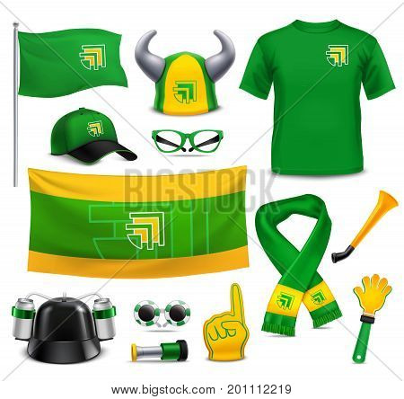 Sports fans supporters 3d realistic mockup accessories collection in green yellow with hands point finger vector illustration