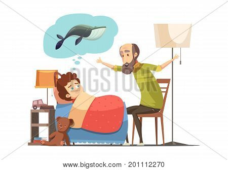 Old man senior character with beard tells his grandson bedtime fish story retro cartoon poster vector illustration