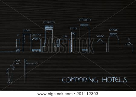 Doubtful Tourist In Front Of City Skyline With Hotels To Choose From And With Road Sign Best Choice