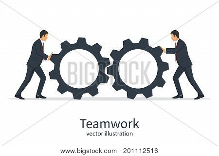 Collaboration concept. Teamwork business metaphor. Two businessmen twist cogwheels. Vector illustration design. Isolated background. Achieving results. Symbol working together cooperation partnership.