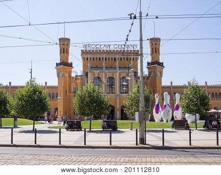 WROCLAW POLAND - AUGUST 15 2017: Wroclaw Railway Main Station With Pins And Tourists
