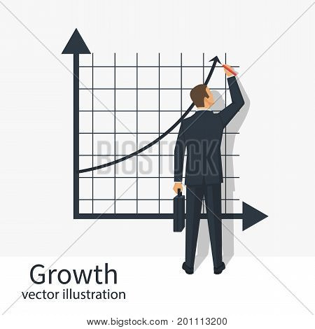 Growth graph concept. Businessman in suit standing about board draws chart of financial growth. Vector illustration flat design. Isolated on white background. Profit Stock Market.