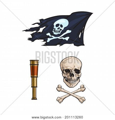 vector cartoon pirates symbols set isolated. Skull and cross bones, jolly roger flag, spyglass sail telescope Pirates, risk adventure and treasure symbol
