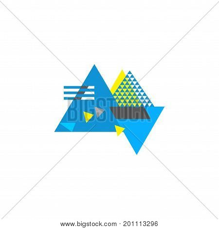 Abstract geometric blue and yellow composition made in Bauhaus style with modern dynamic street artwork or Memphis group elements. Great as dynamic background or abstract postmodernist design element.
