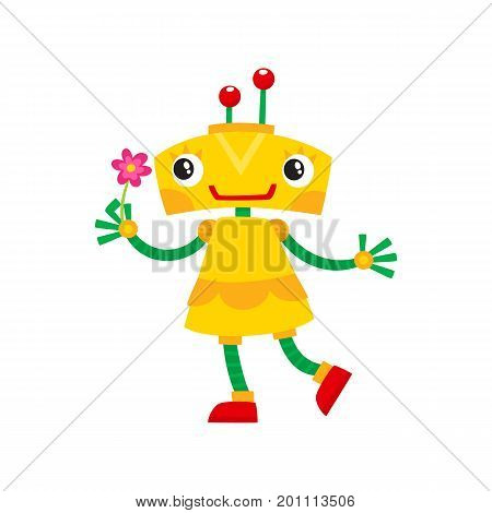 vector flat cartoon funny friendly robot. Small Humanoid girl character with legs arms, with locator on head holding flower smiling . Isolated illustration on a white background.