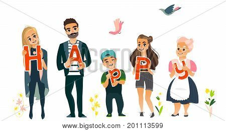 Family concept - parents, children holding boards with letters of word HAPPY, flat cartoon vector illustration on white background. Family members holding letters of word Happy, full length portrait