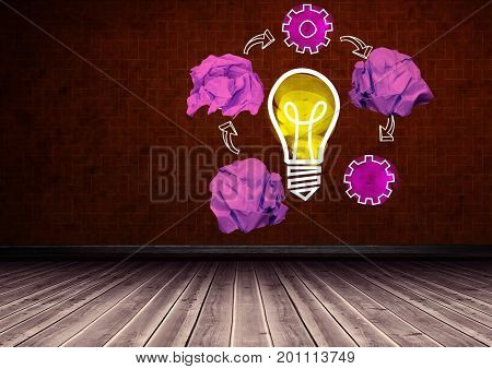 Digital composite of light bulb with crumpled paper balls