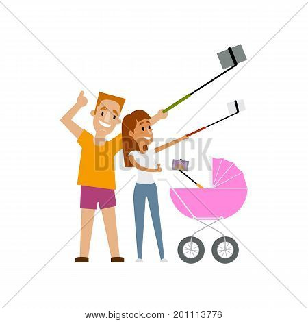 Young woman and her newborn baby in pram both making selfie with phone and monopod, cartoon vector illustration isolated on white background. Pretty young mother and baby in pram make selfie