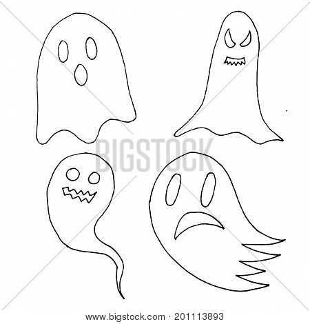 Set Of Cartoon Spooky Scary Ghosts Character, Hand-drawn Ghosts For Halloween Celebration
