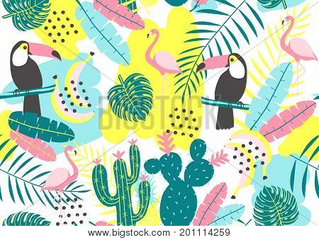 Tropical seamless pattern with toucan flamingos cactuses and exotic leaves. Vector illustration