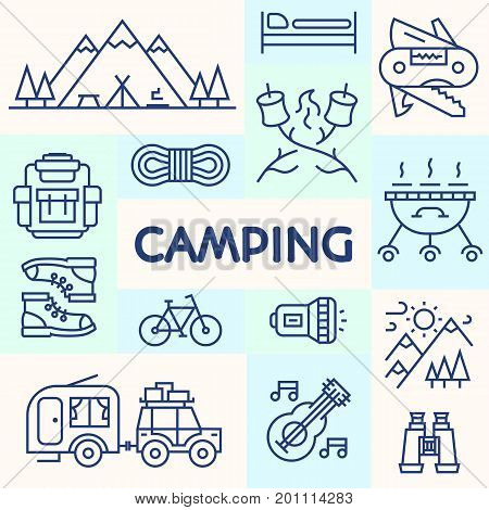 Camping card cyan line style consisting of bicycle, camper, mountain, backpack, knife, sweet, barbecue, trees, tent for tourist symbol, explore logo, travel badge, expedition label, kids camp