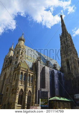 View of St. Stephen's Cathedral (Stephansdom, or Domkirche St. Stephan), the mother church of Roman Catholic Archdiocese of Vienna (Wien) Austria, Stephansplatz.
