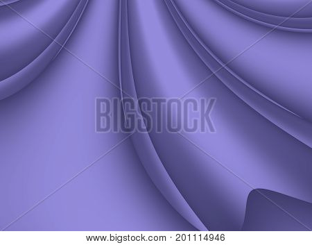 Fine purple modern abstract fractal background illustration with stylized ribbons petals or draping. Soft smooth elegant art.