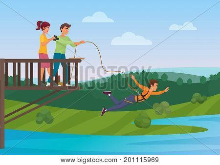 Woman doing bungee jumping with the friends vector illustration. Bungee jumper. Extreme sport