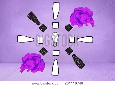 Digital composite of light bulb with crumpled paper balls in front of blackboard