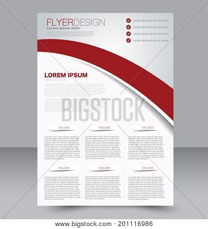 Abstract flyer design background. Brochure template. To be used for magazine cover, business mockup, education, presentation, report.  Red color.