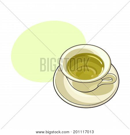 China, porcelain cup of green tea drink, sketch vector illustration isolated on white background. Hand drawn green tea drink in porcelain with speech bubble
