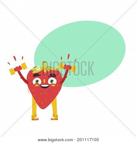 Funny strawberry character working out in gym, lifting dumbbells, comic, cartoon vector illustration isolated on white background. Funny strawberry character with smiling human face lifting dumbbells
