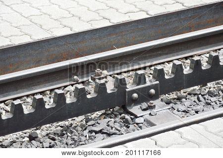 railway of travelled train to Jungfrau mountain in Switzerland