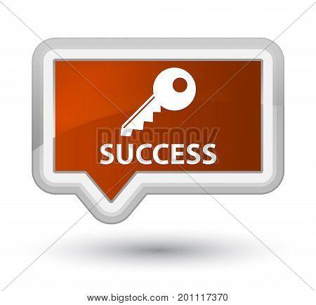 Success (key Icon) Prime Brown Banner Button