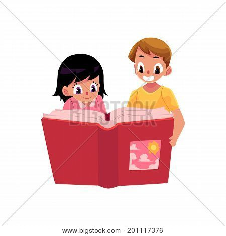Two kids, children reading an interesting book together, cartoon vector illustration isolated on white background. Two kids, children, Caucasian boy and girl, reading a huge book, showing cover