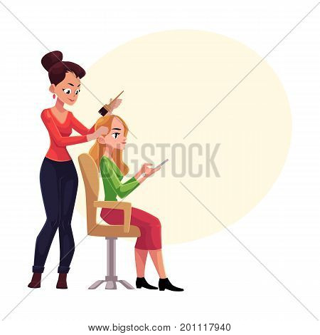 Hairdresser dying long hair of blond woman who uses smartphone meanwhile, cartoon vector illustration with space for text.Hairdresser woman dying hair for her client, applying hair dye