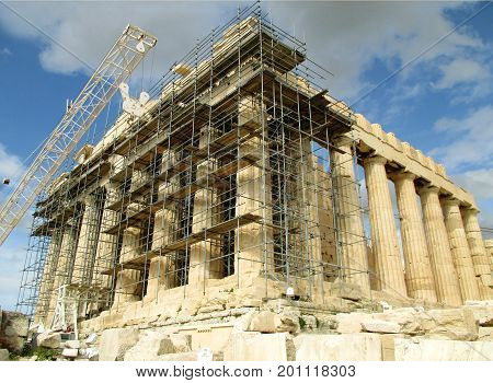 The Greek Temple Parthenon Under Restoration, Acropolis of Athens, Greece