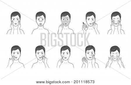 Instructions for facial care nutrition, moisturizing, toning, cleansing.Line style.Isolated on white background.Easy to change color.Vector illustration.