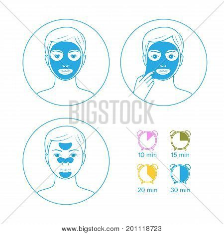 Three instructions for use face masks purifying peel-off mask, peel-off strip, hydrating mask.Line style.Isolated on white background.Easy to change color.Vector illustration.