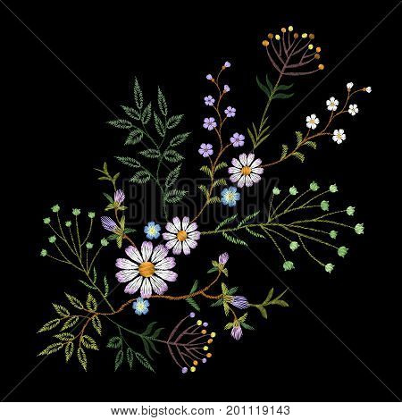 Embroidery trend floral pattern small branches herb daisy with little blue violet flower. Ornate traditional folk fashion patch design neckline blossom on black background vector illustration art