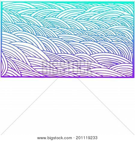 Decorative psychedelic background wave lines blue purple color outline isolated on white background beautiful doodle card with place for text. Vector hand drawn illustration.