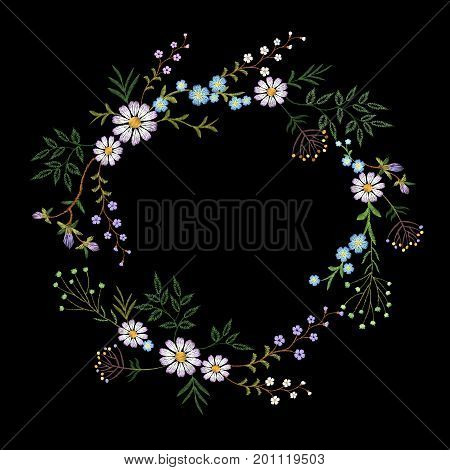 Vintage embroidered flower wreath. Fashion elegant delicate design decoration print. Daisy chamomile beautiful field rustic wildflowers isolated. Greeting invitation vector illustration art