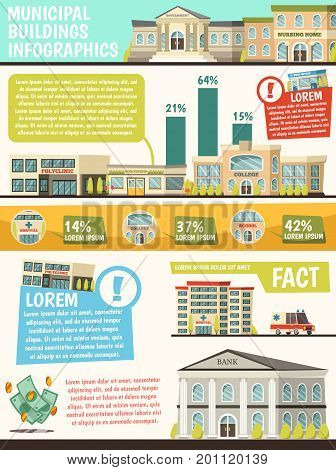 Orthogonal municipal buildings infographics with facts of buildings and their percentage rating vector illustration