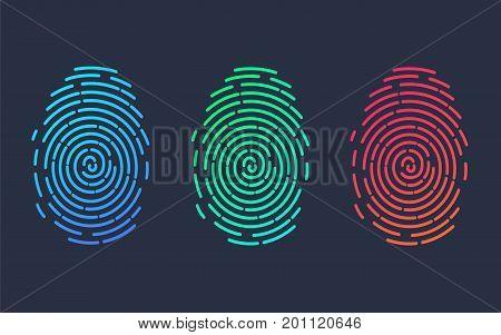 Fingerprints. Illustration of the fingerprint of different colors on a black background. Vector illustration Eps10 file