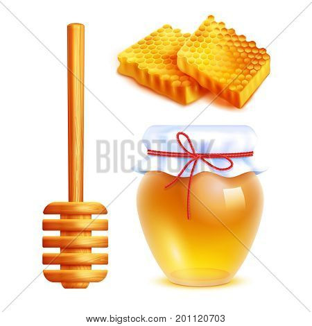 Honey realistic icons set with wooden dipper stick glass jar filled with yellow honey and honeycombs in shape of rectangle isolated vector illustration