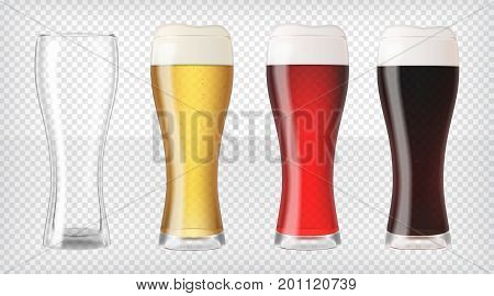 Realistic beer glasses and empty glass. Mugs filled with red, dark, blond beer with bubbles and foam. Graphic design element for brewery ad, beer garden poster, flyer. Transparent vector illustration