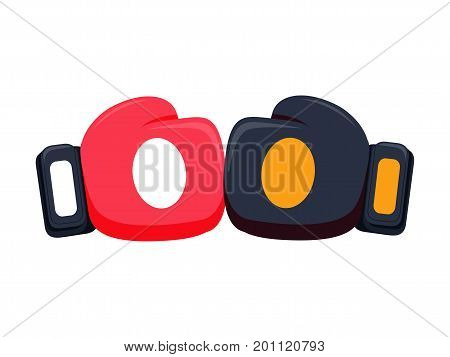 Cartoon red boxing glove icon, front and back. Isolated vector illustration. Vector box fight concept.
