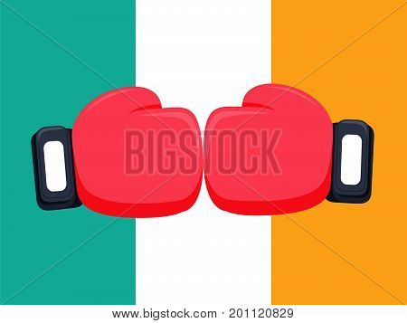 Cartoon red and black boxing glove icon, front.Vector illustration of fight of Ireland. Ireland flag background and box fight concept