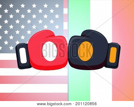 Cartoon red and black boxing glove icon, front.Vector illustration of fight of Ireland and USA. American and Ireland flags background and box fight concept