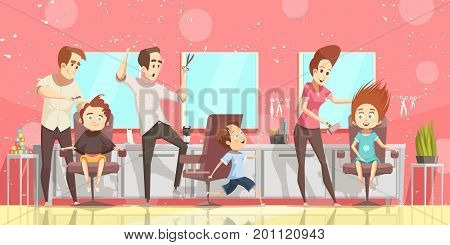 Hair salon background with kids and hairdresser flat isolated vector illustration