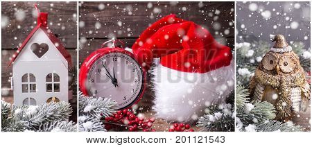 Winter holiday site header. Collage from Christmas or New year photos. Decorative owl hat clock lanetrn berries and branches fur tree on aged wooden background. Holiday site header.