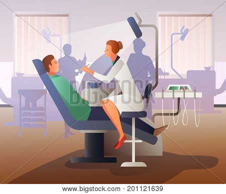 Flat composition with young man on appointment at dentist, professional equipment, interior elements gradient vector illustration